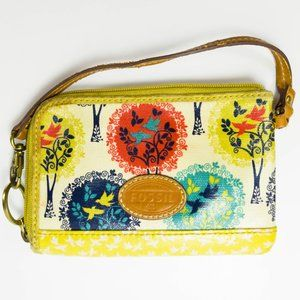 Fossil Zippered Coated Canvas Wallet Birds & Trees